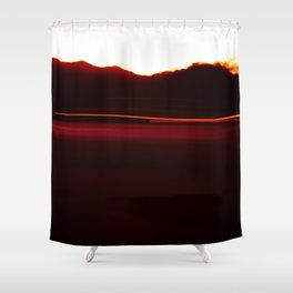 Night Lights Car and Fire Mountain Shower Curtain