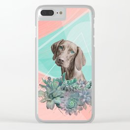 Eclectic Geometric Redbone Coonhound Dog Clear iPhone Case