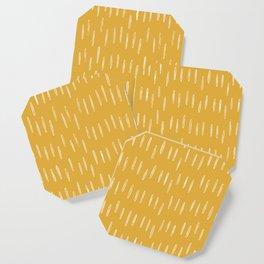 Raindrop Abstract Boho Pattern, Yellow Coaster