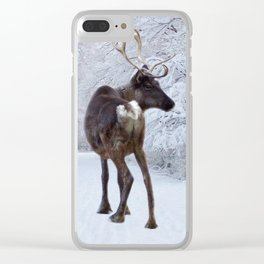 Reindeer and Snow Clear iPhone Case