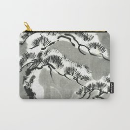 Pine trees under snow sumie ink painting Carry-All Pouch