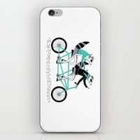cycling iPhone & iPod Skins featuring Cycling Raccoons by smalltalkstudio
