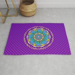 Seahorse Mandala on Purple Gradient Halftone Rug