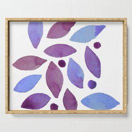 Leaves and berries watercolour Serving Tray