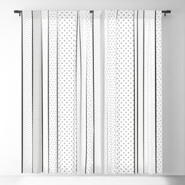 black and white pattern, dots and stripes - striped design, geometric Blackout Curtain