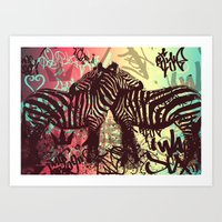 zebra Art Prints featuring ZEBRA by Nechifor Ionut
