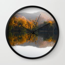 Autumn landscape on the lake. Wall Clock