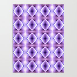 Blue Purple Geometric Diamond Pattern Design Poster
