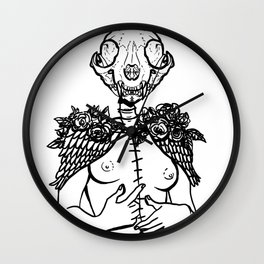 Crazy cat lady skeleton winged surreal figure Wall Clock