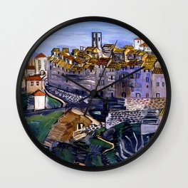French Village of Vence, Nice and Antibes, French Maritimes Alps, Cote d'zur cityscape by Raoul Dufy Wall Clock