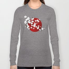 Red Black And White Cherry Blossoms Long Sleeve T-shirt
