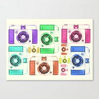 vintage camera Canvas Prints featuring CAMERA by Laura Maria Designs