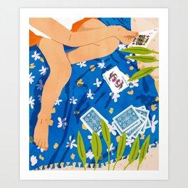 Playing Cards, Summer Games Vacation, Nature Bohemian Picnic Beach, Joker Illustration Art Print