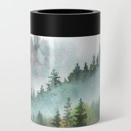Watercolor Pine Forest Mountains in the Fog Can Cooler