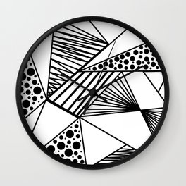 Modern abstract black white geometric stripes polka dots Wall Clock