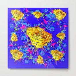 BLUE & YELLOW ROSE BLUE MORNING GLORY FLOWERS  DES Metal Print