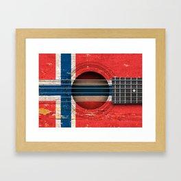 Old Vintage Acoustic Guitar with Norwegian Flag Framed Art Print