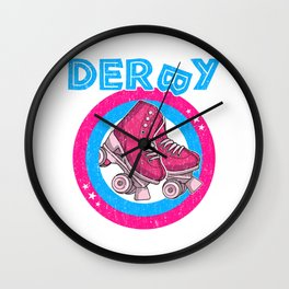 Roller Derby Girl 80s Skate Disco - Hot Pink & Blue Wall Clock