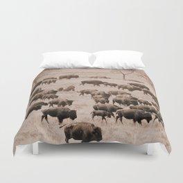 Buffalo Herd in Sepia Duvet Cover
