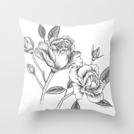 Twin Roses Inked Drawing Throw Pillow
