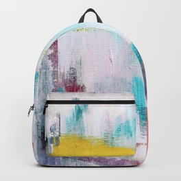 Colfax: an interesting, vibrant, abstract mixed media piece in a variety of colors Backpack