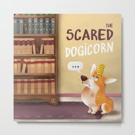The scared dogicorn Metal Print