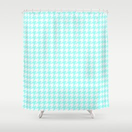 Aquamarine Houndstooth Shower Curtain