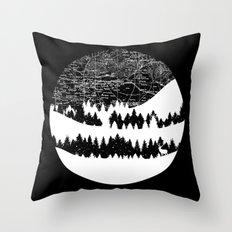 Map Silhouette Circle Throw Pillow