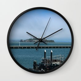 Alcatraz On A Foggy Morning Wall Clock