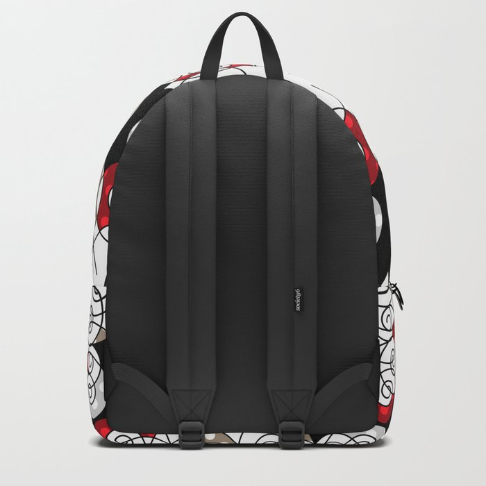 Abstraction . Black red spiral. Backpack