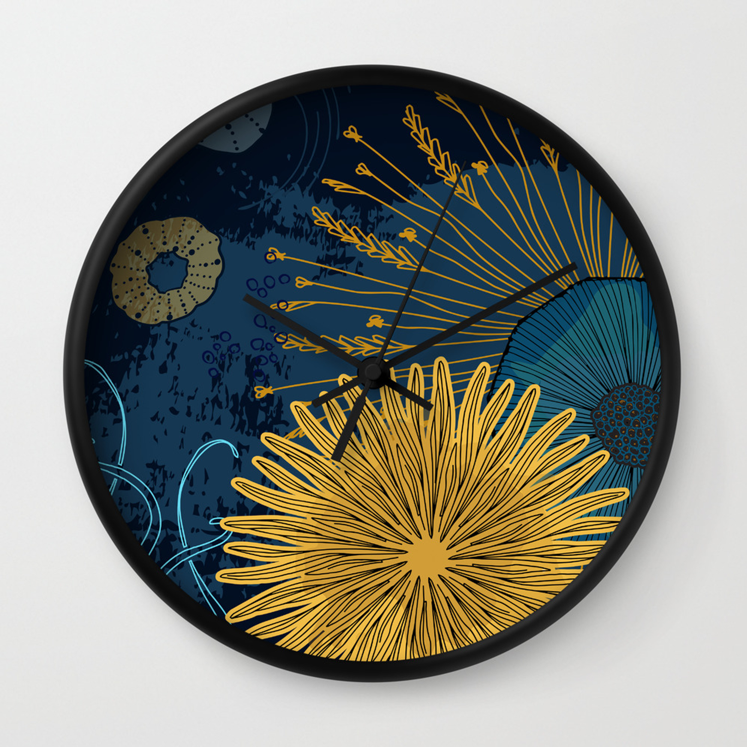 Navy Floral Background Wall Clock By Milatoo Society6
