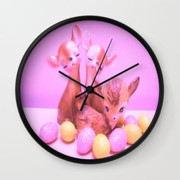 Fawns and eggs Wall Clock