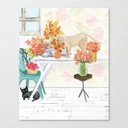 The Florist's Cats Canvas Print
