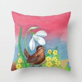 Wren Bird and Snowdrop  Throw Pillow