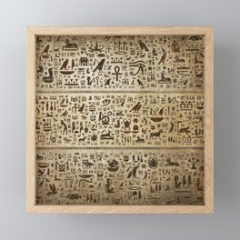 Ancient Egyptian hieroglyphs - Vintage and gold Framed Mini Art Print