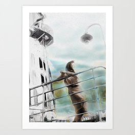 Woman on Ship Rails Art Print