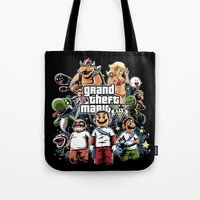grand theft auto Tote Bags featuring Grand Theft Mario by Fuacka
