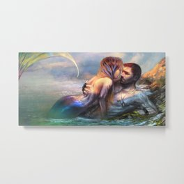 Take my breath away - Mermaid in love with soldier on the beach Metal Print