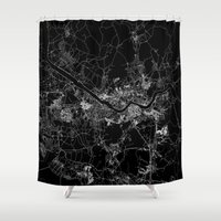 seoul Shower Curtains featuring Seoul by Line Line Lines