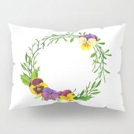 Watercolor pansies wreath Pillow Sham