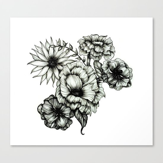 Floral Ink III Canvas Print