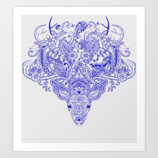 Little Blue Deer Art Print