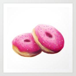 Pink Donut Painting Art Print