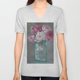 Antique Mason Jar Number 6 1858 with Pink Roses Unisex V-Neck