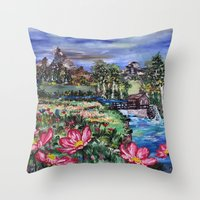 serenity Throw Pillows featuring Serenity by Art of Leki