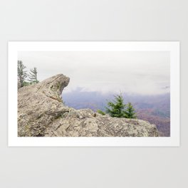 Blowing Rock Mountain and it's beautiful view from the mountain peak into the valley on a partly clo Art Print