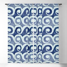 Retro Tropical Beach Waves - Indigo Blue Woodblock Blackout Curtain