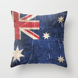 Vintage Aged and Scratched Australian Flag Throw Pillow