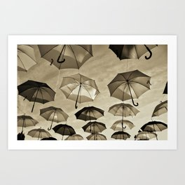 Umbrella sky - B/W Art Print