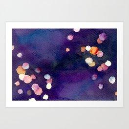 Watercolor bokeh Art Print